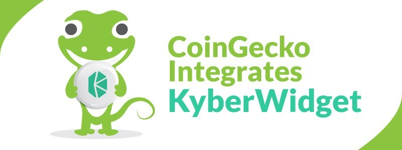 "Coingecko Gecko holding Kyber Crystals KNC with headline ""CoinGecko Intergrates KyberWidget"""